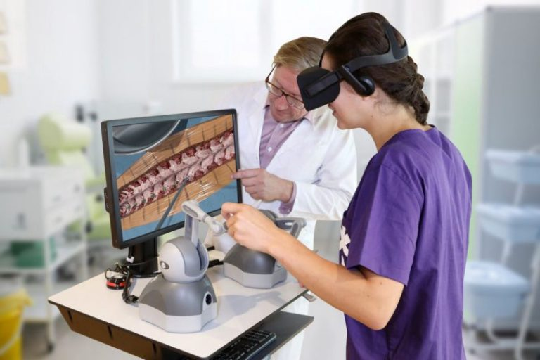 Women uses XR in medical training
