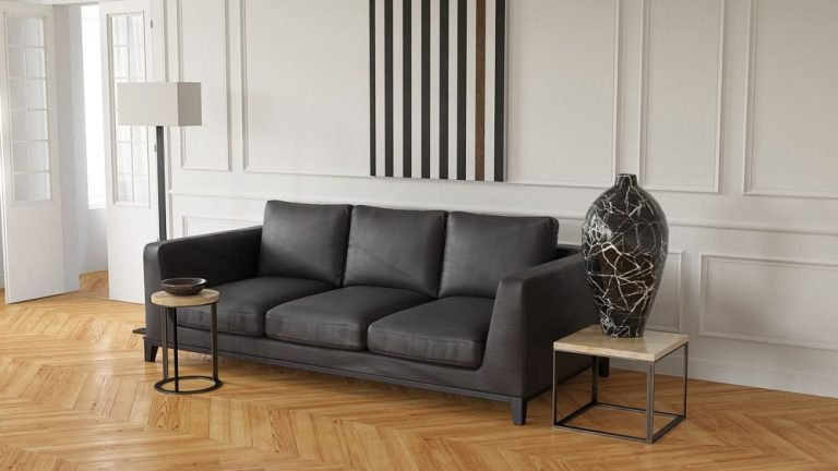 A render of a 3d couch in a living room