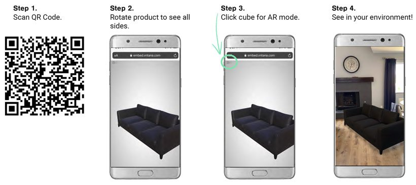 3D Model of Couch is brought into living room using augmented reality mode on phone
