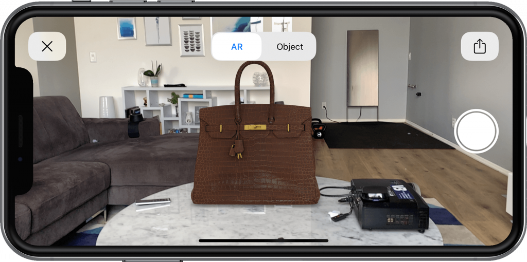 Birkin Bag on a table in AR with the VNTANA platform