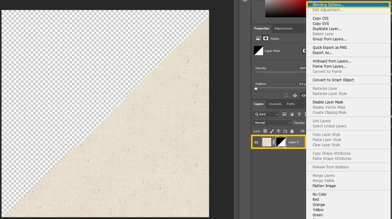 Photoshop - Selecting Blending Properties
