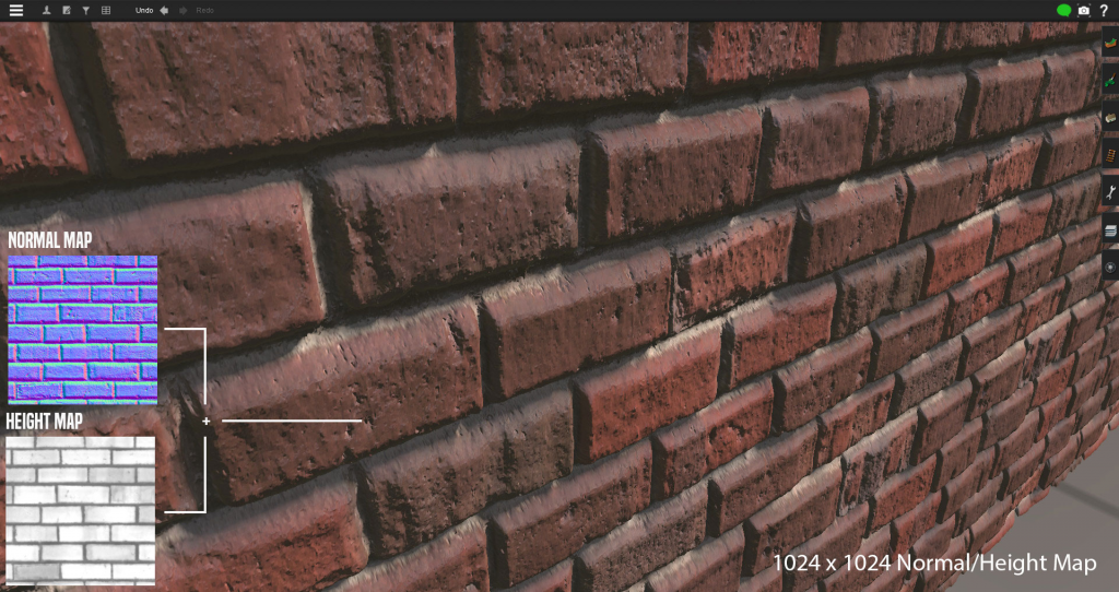 Texture Baking normal map and height map example brick wall