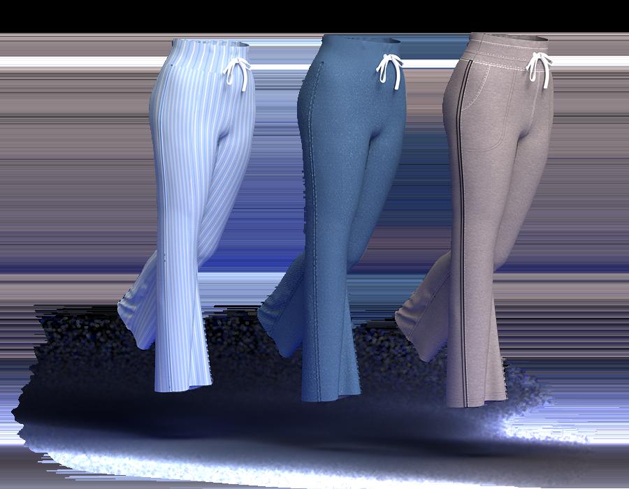 Three Rendered Pants