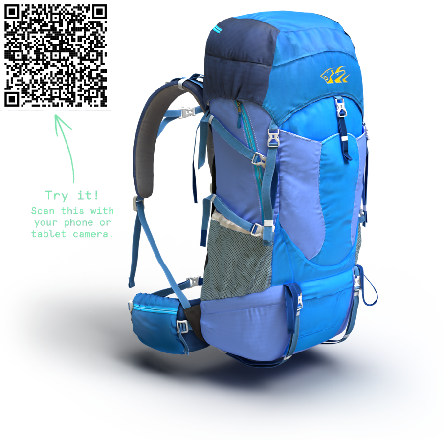 3D Backpack with QR Code for AR Viewing